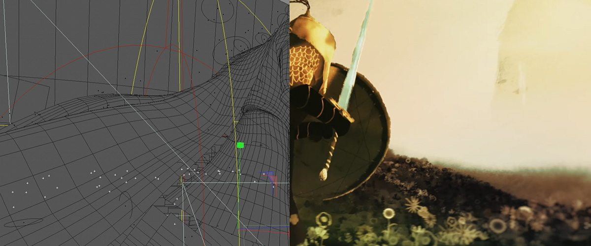A cg wireframe model behind the shot by Glassworks.