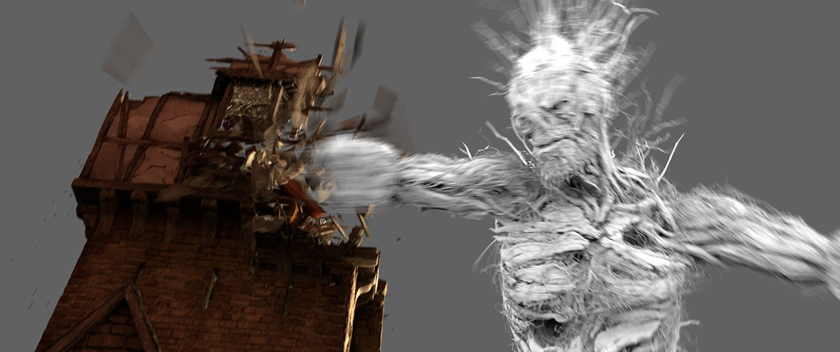 The monster destroys the house - model and effects frame.
