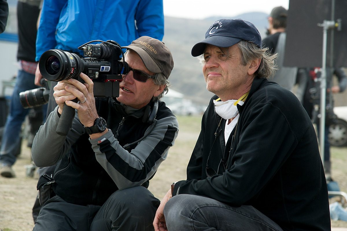 DP Don Burgess and Director Chris Wedge (right) and on the set of Monster Trucks.