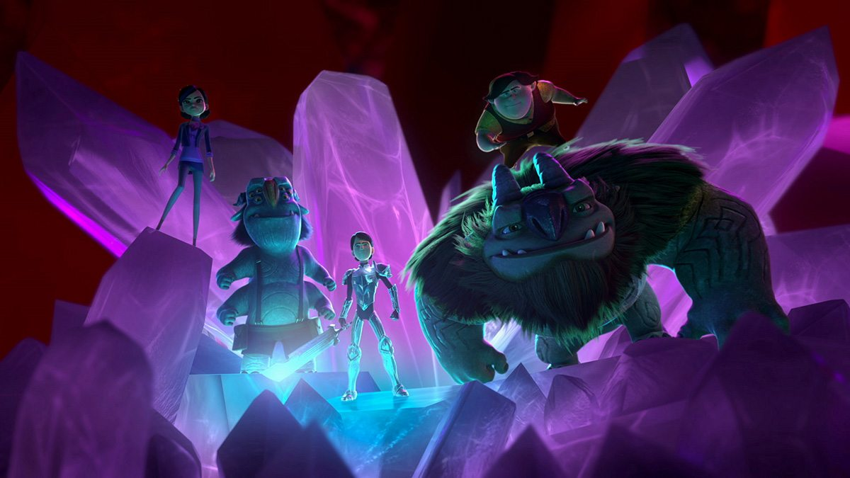 The main character James, voiced by the now deceased Anton Yelchin, and his friend Clare (Lexi Medrano) travel to the trolls underworld.