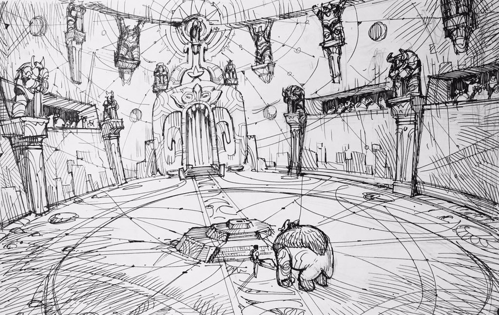 Early sketch of Hero's Forge for Trollhunters. Source: art director Rustam Hasanov's Twitter page.