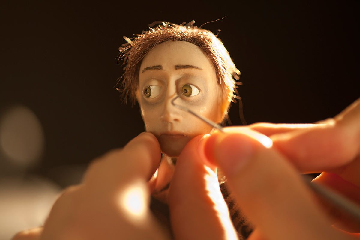 """An animator moving a character's eye during the production of """"Boles."""""""