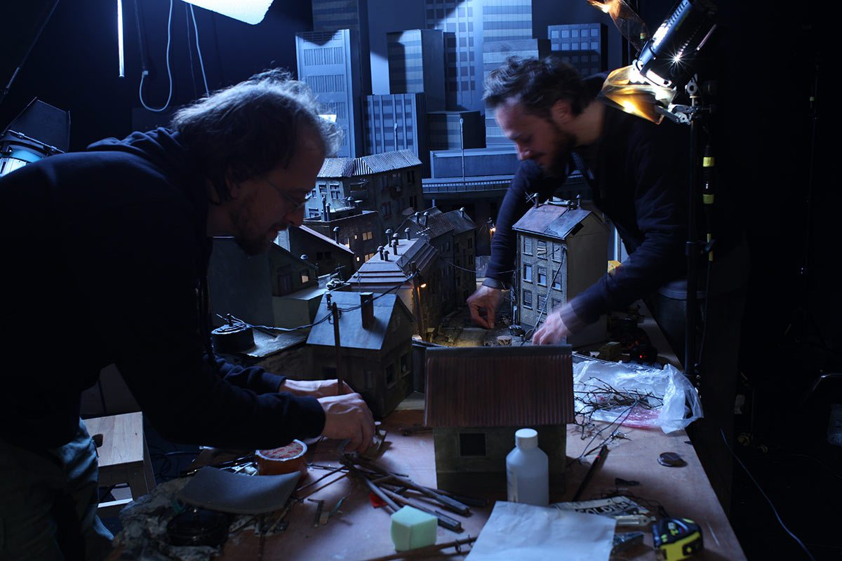"""Artists working on set during the production of Boles."""""""