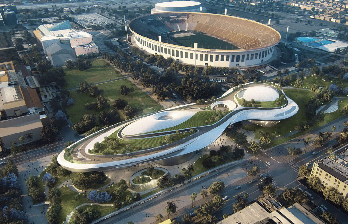 Proposed design for the Lucas museum in Los Angeles' Exposition Park.