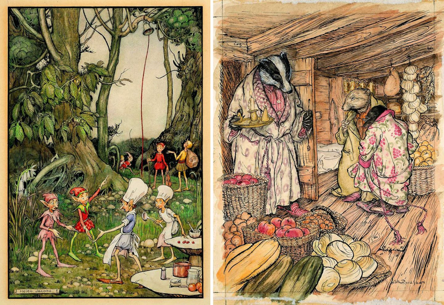 Example of artwork by Helen Mary Jacobs (left) and Arthur Rackham that would be part of the museum.