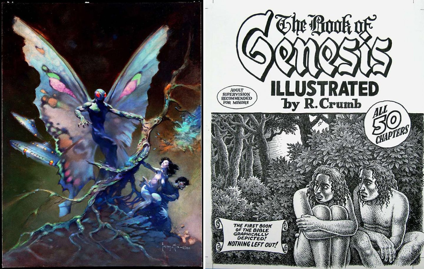 Example of artwork by Frank Frazetta (left) and Robert Crumb that would be part of the museum.