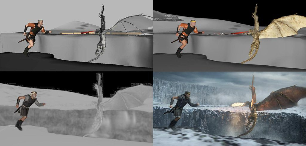 A scene breakdown from Beowulf, which also utilized performance capture approaches.