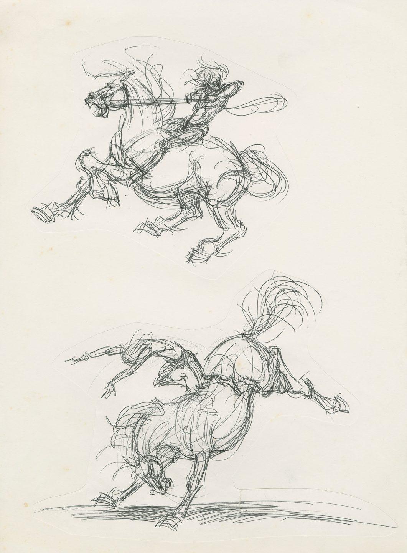 Ink drawings from Deja's application portfolio to Disney.