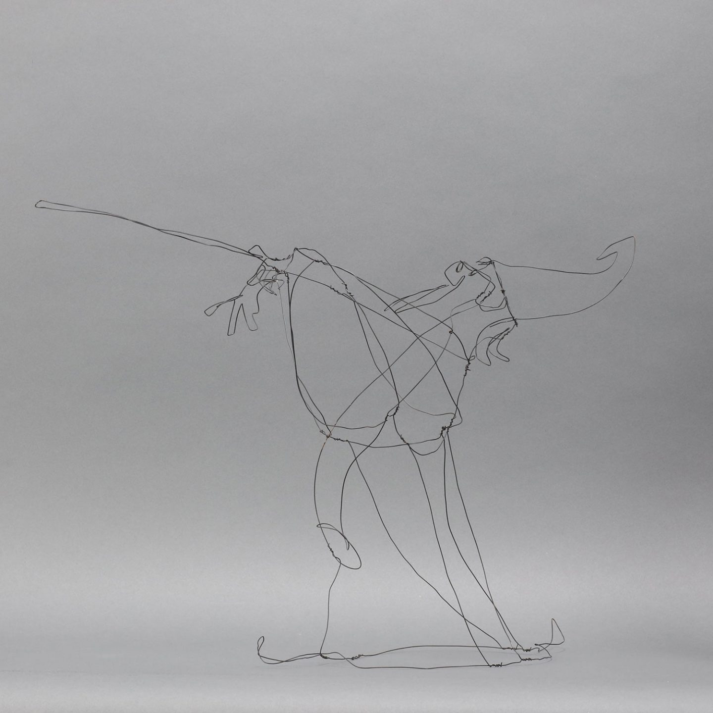 Merlin steel wire sculpture.