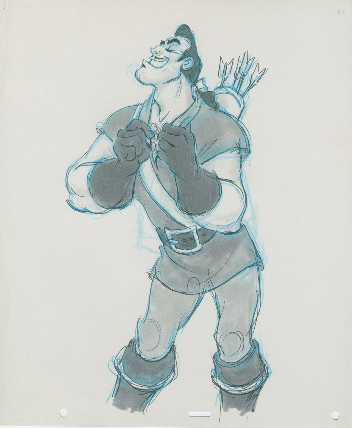"""Visual development of Gaston from Disney's """"Beauty and the Beast"""" (1991)."""