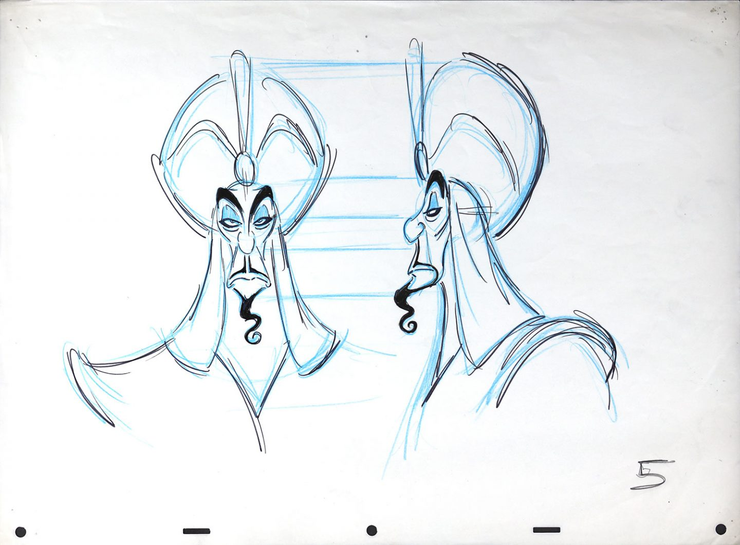 "Model drawings of Jafar from Disney's ""Aladdin"" (1992)."