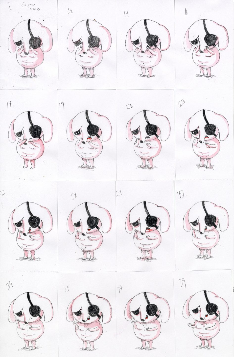 "Animation drawings from Vázquez's film ""Unicorn Blood."""