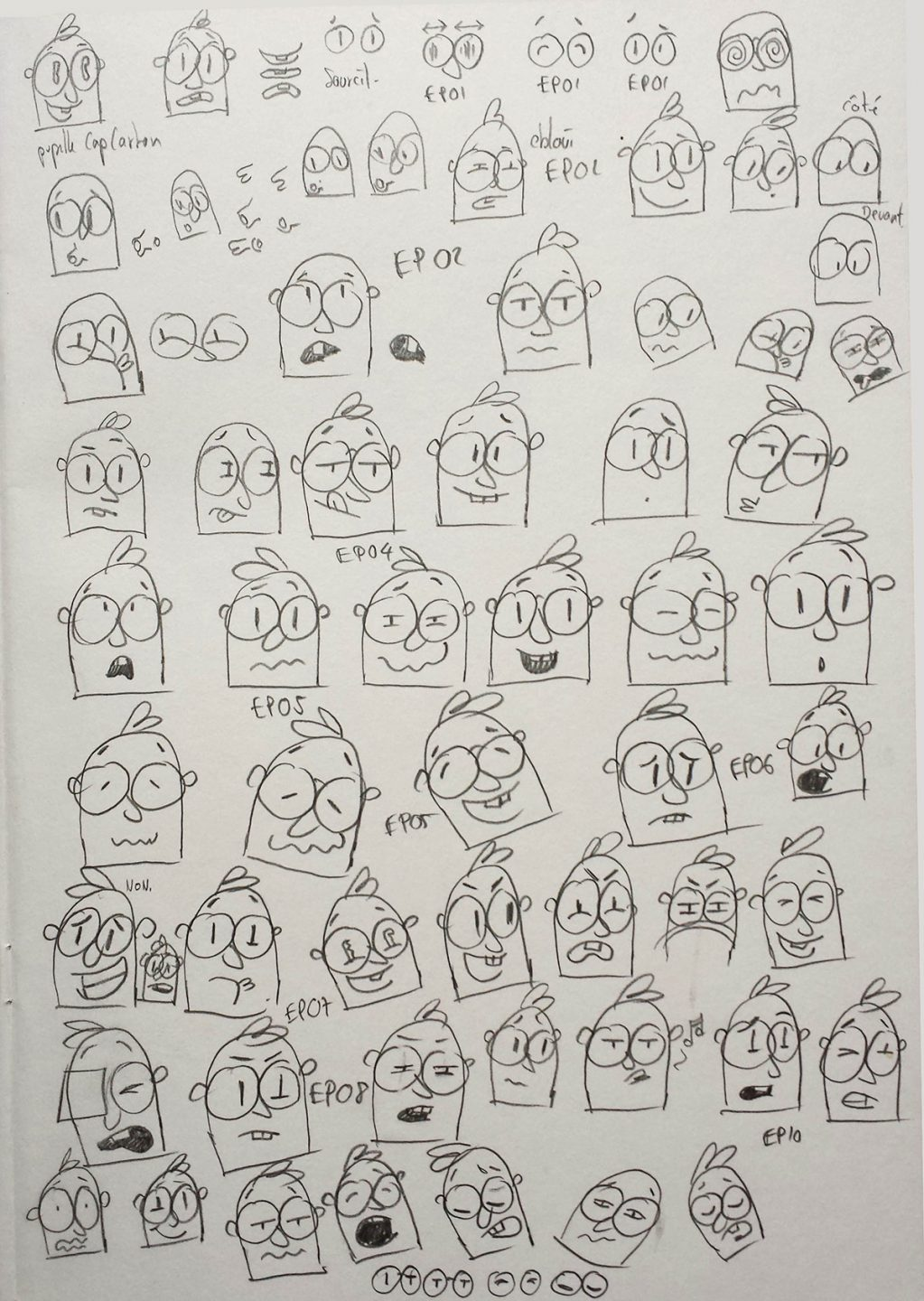 Expression sheet for the character Mr. Carton.