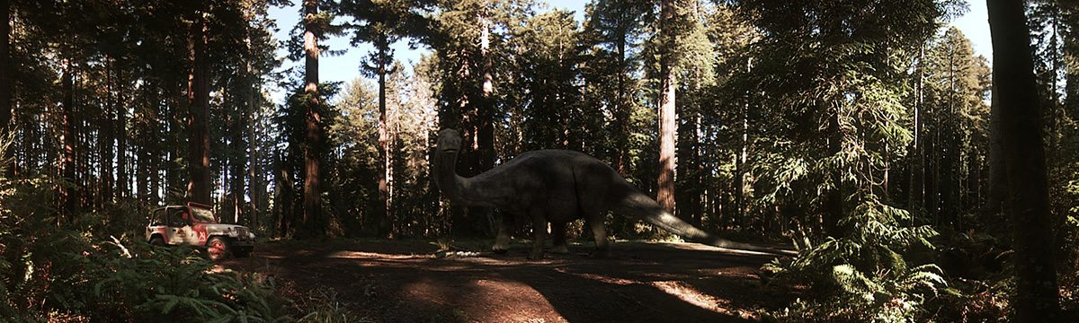"""A still from the """"Jurassic World: Apatosaurus"""" VR Experience."""