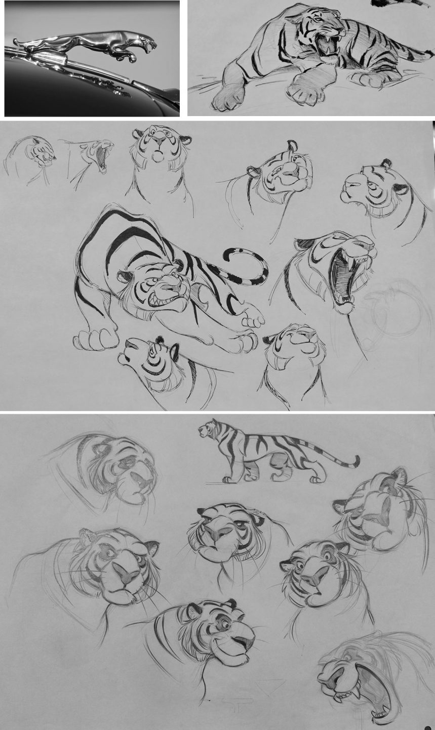 "Inspiration and early design approaches to Rajah in ""Aladdin."""