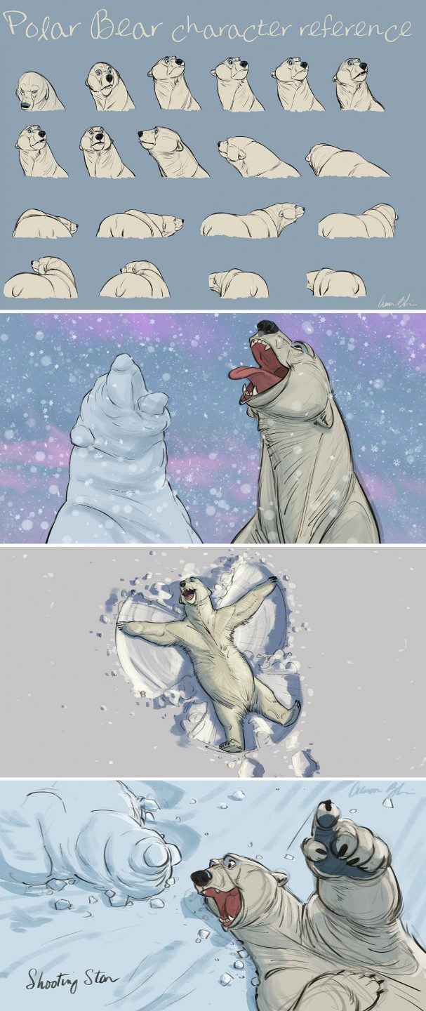 "Development work from Aaron's upcoming short ""Snow Bear."""