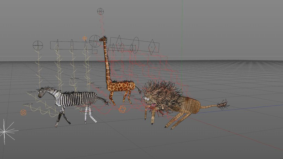 Animal rigs inside Cinema 4D.