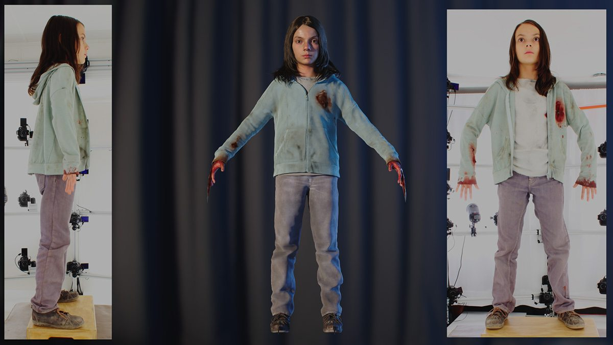 Laura in different clothing being scanned and as a digital double.