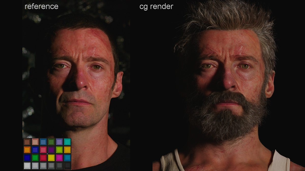 A side by side look at the real Hugh Jackman and his digital Logan counterpart in the lookdev stage.