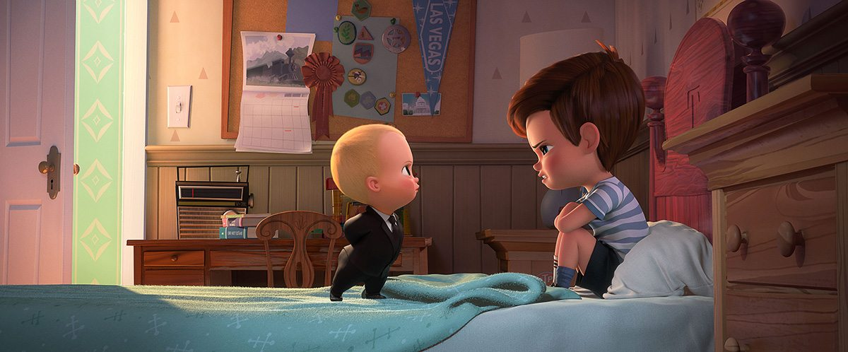 Boss Baby (voiced by Alec Baldwin) and Tim (voiced by Miles Bakshi).