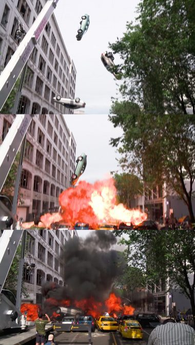 This selection of screengrabs from production b-roll shows real cars being dropped from cranes.