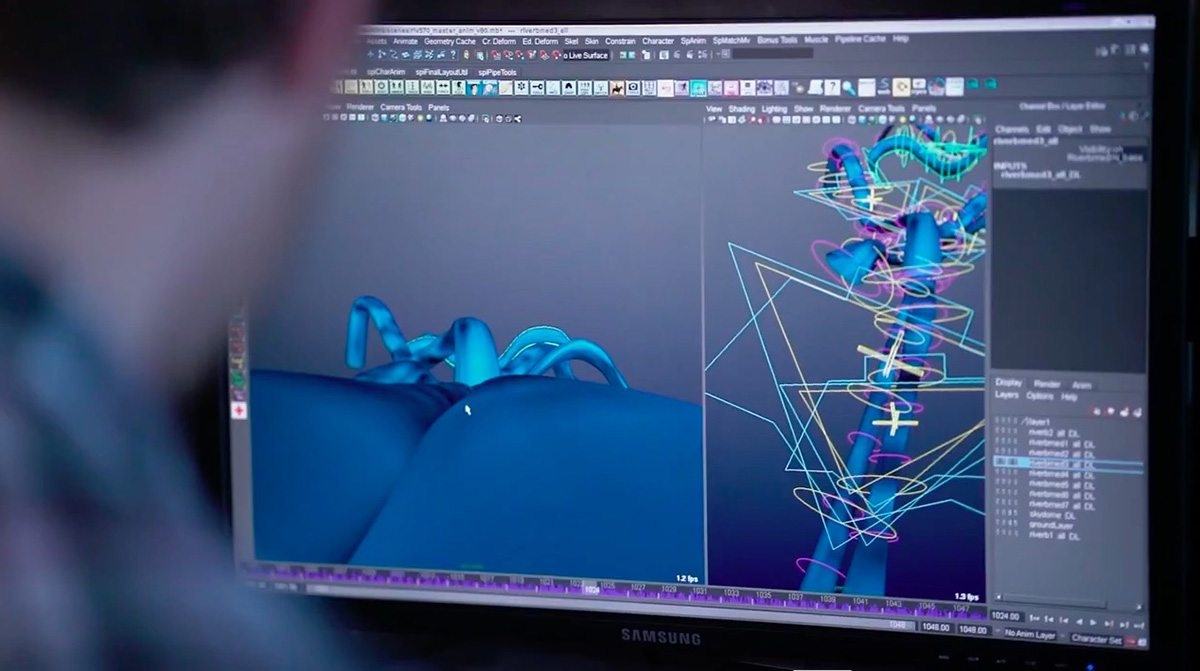 Close-up of the animation rig for the river, from production b-roll.