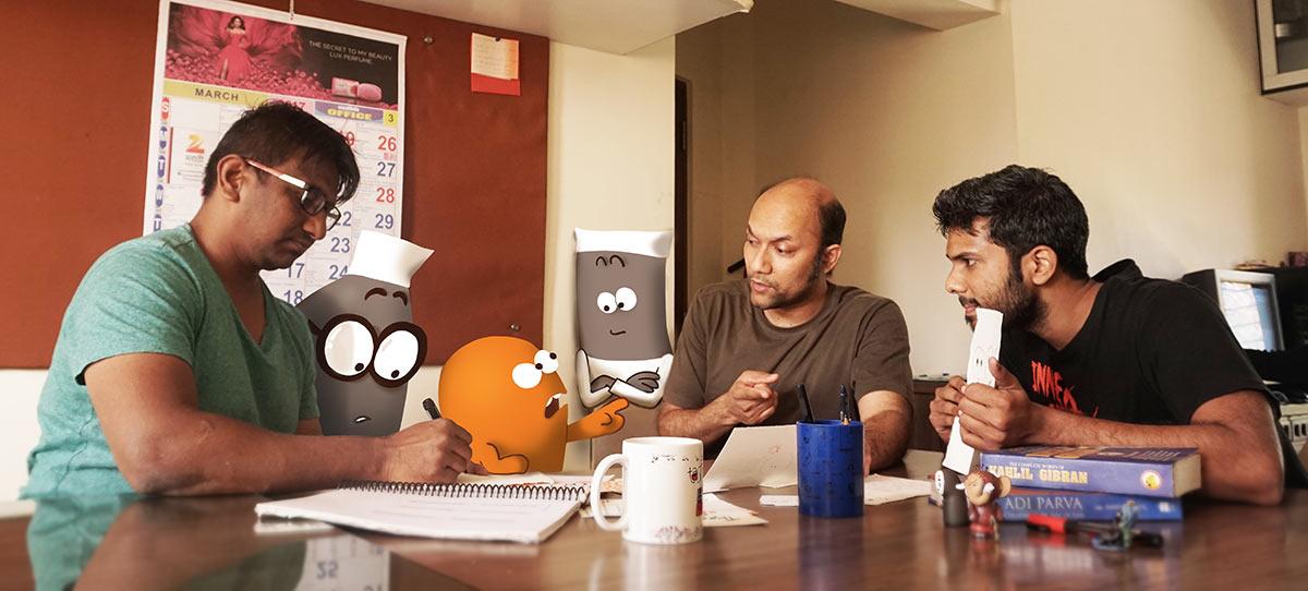 """""""Lamput"""" crew hard at work. Vaibhav Kumaresh, pictured center."""