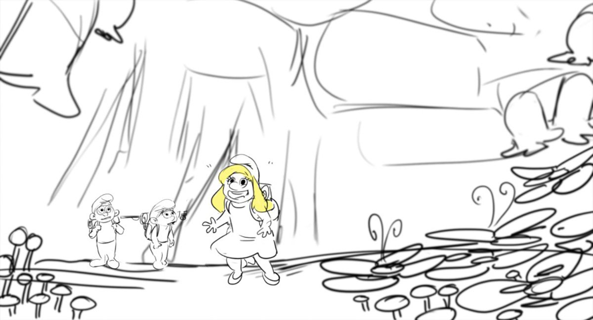 A storyboard for Smurfette and her friends' arrival into the Forbidden Forest. Storyboard by Sharon Bridgeman.