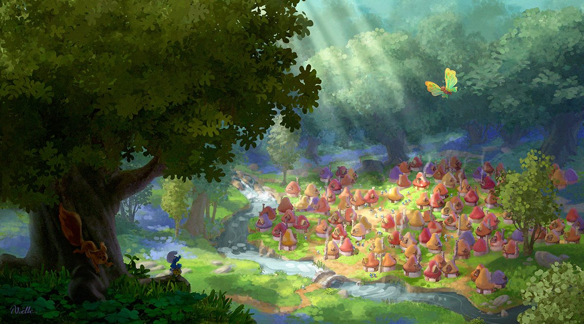 Production art for Smurf Village, by production designer Noelle Triaureau.