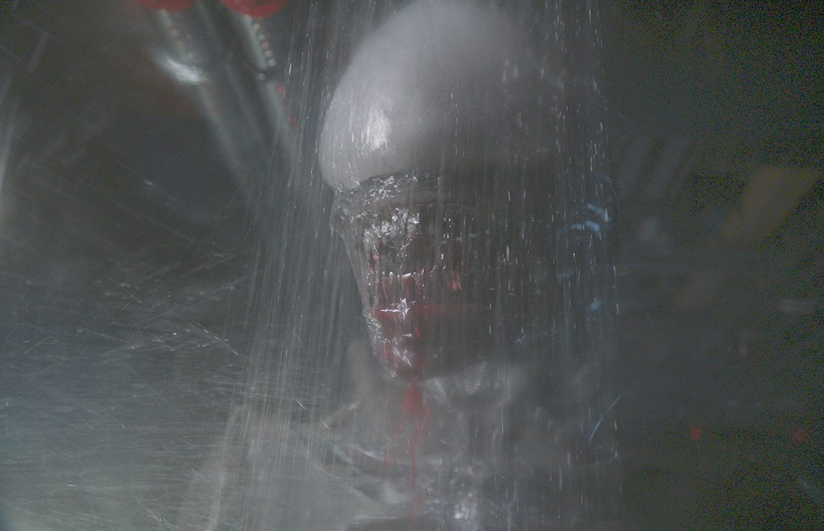 The practical Xenomorph shot for the shower scene.