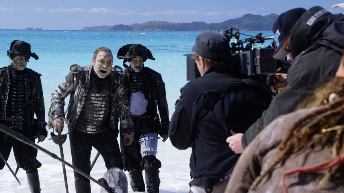 In this b-roll screenshot, the undead crew perform on set.