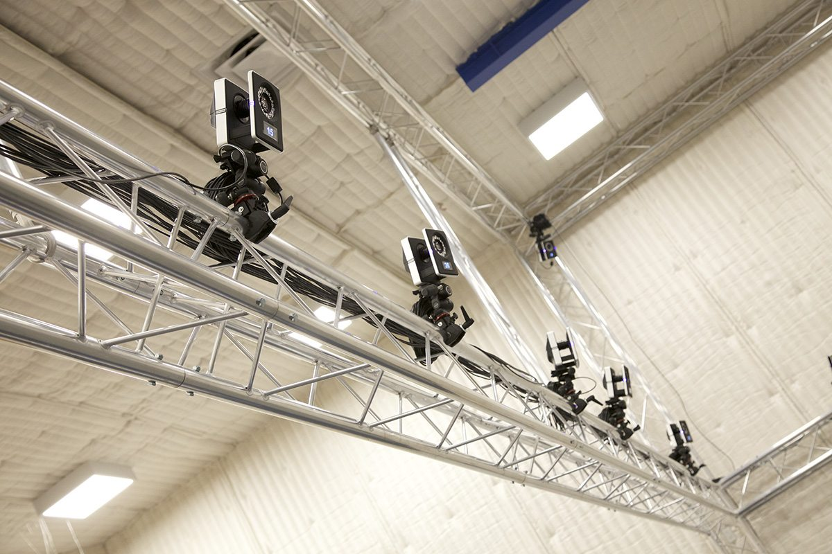 Close-up view of the Vicon cameras.