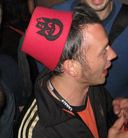 The unmistakable Ka-Ching fez, modeled by Joost van der Bosch.