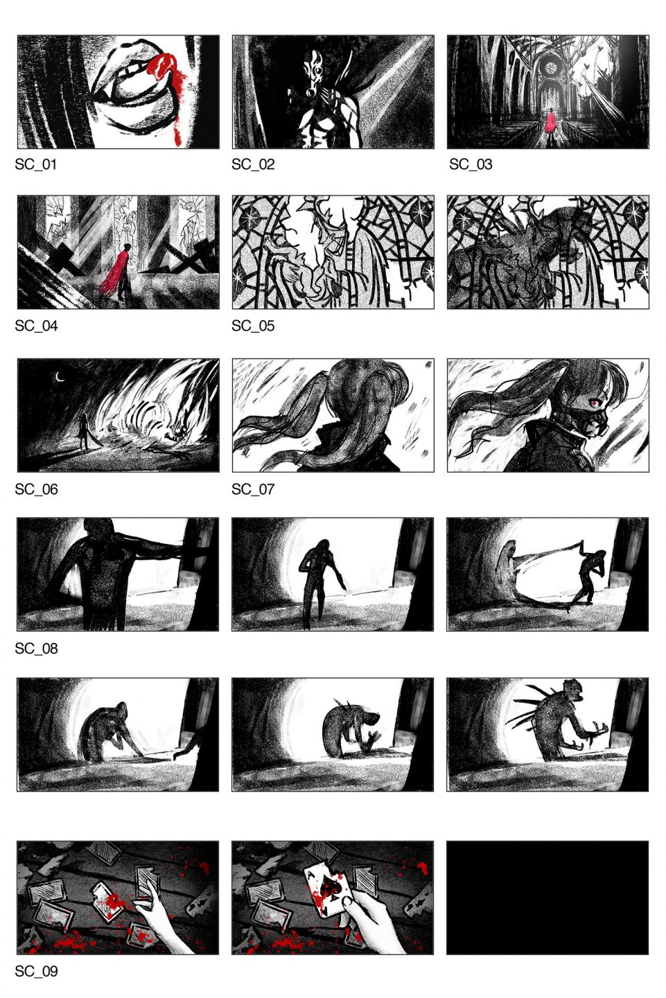 Storyboards by Marika Cowan.