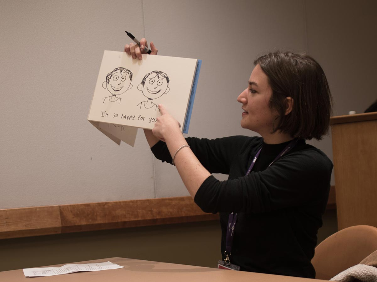 Pixar story artist Madeline Sharafian explains how a few strategic lines can completely change the meaning of an expression. Photo: Thom Parks.