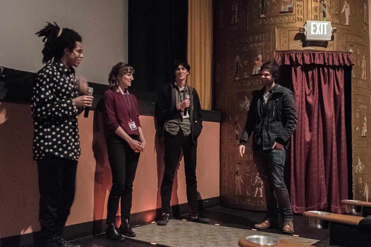 "Jeron Braxton answers questions about his film ""Glucose"", alongside Amanda Bonaiuto and Ingo Raschka as programmer Sean Buckelew moderates. Photo: Thom Parks."