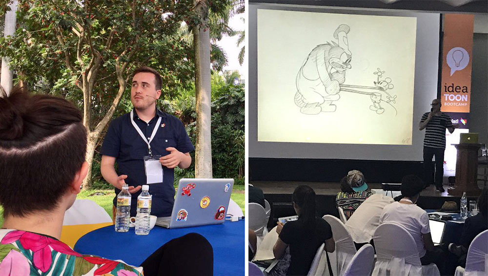 "Two of the speakers at the Ideatoon bootcamp: ""Clarence"" head of story/voice actor Spencer Rothbell (left) and character designer/storyboard artist Stephen DeStefano (""Samurai Jack,"" ""Hotel Transylvania,"" Mickey Mouse shorts)."
