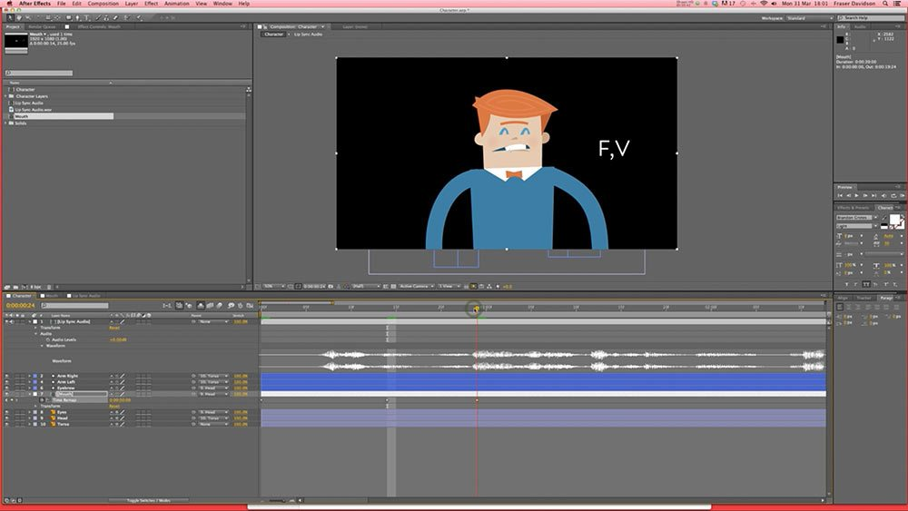 "A screenshot from Fraser Davidson's Skillshare course ""Simple Character Lip Sync."""