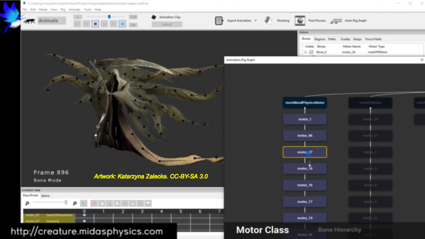The Midas Creature UI used to add secondary motion to character cloth on a game screen.
