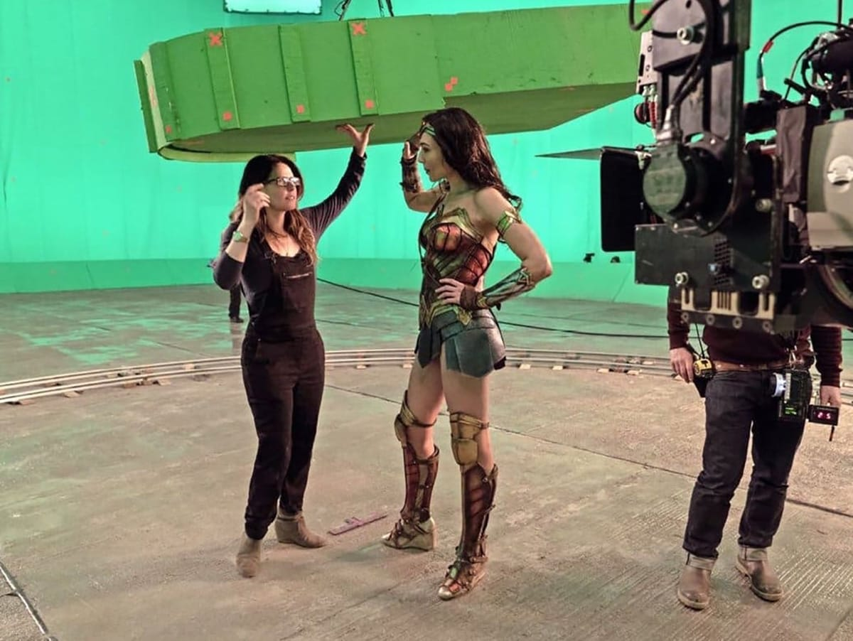 Director Patty Jenkins and Gal Gadot film on greenscreen.