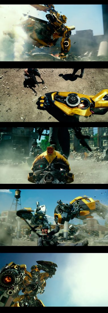 Screenshots showing the different pieces Bumblebee breaks into before his re-assembly.