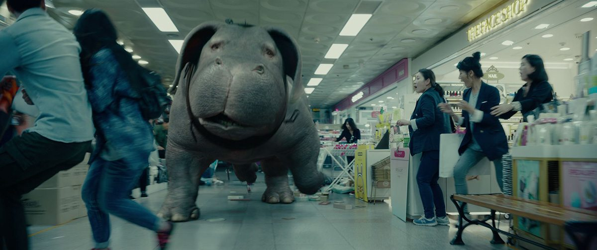 Okja makes several bids for freedom in the film.