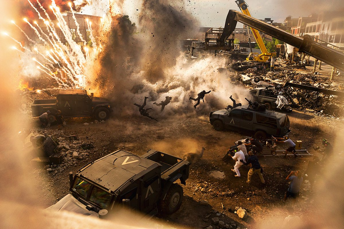 On the set of 'The Last Knight' for the Bumblebee transformation scene, which featured real explosions and special effects.