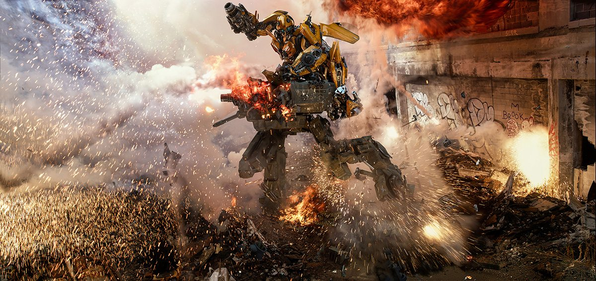 Bumblebee - in full humanoid form - in action against a Sentinel before showing off his disassembling trick.