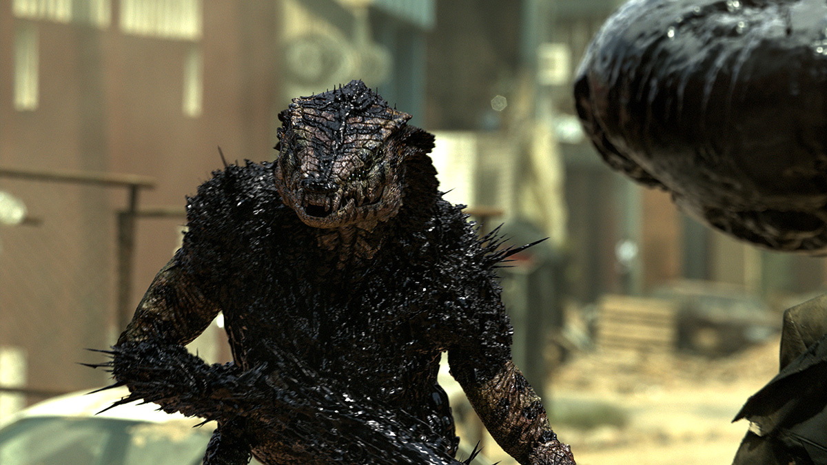 The creature was completely digital and also featured some dynamic black nanotechnology liquid on its skin.