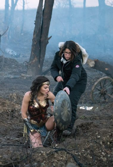 Gal Gadot and Patty Jenkins on set filming one of the trenches shots.