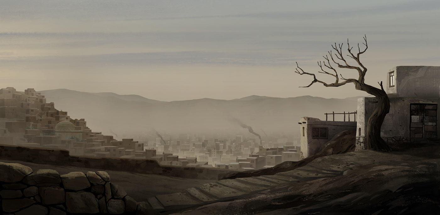 "A background painting from ""The Breadwinner."""
