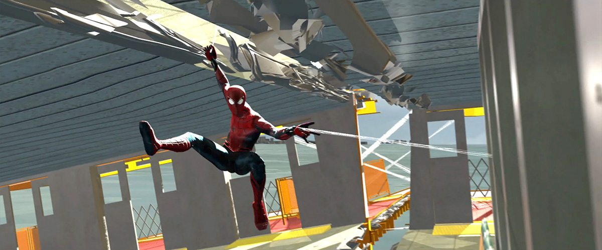 A previs frame from The Third Floor shows Spider-Man struggling to 'web' together the ferry.