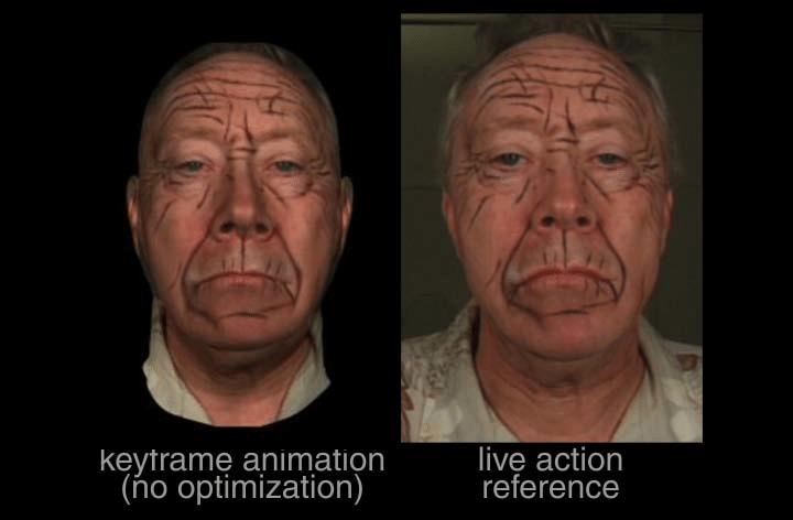 A comparison of the live-action reference with a marked up face, and the frame-by-frame animation of the cg mode - the Hirokimation approach.