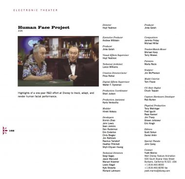 This credits listing from SIGGRAPH 2002 identifies the team behind Human Face Project, which was shown in the conference's Electronic Theater.